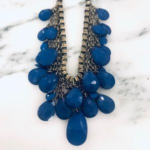 J.Crew Blue and Brass Statement Necklace